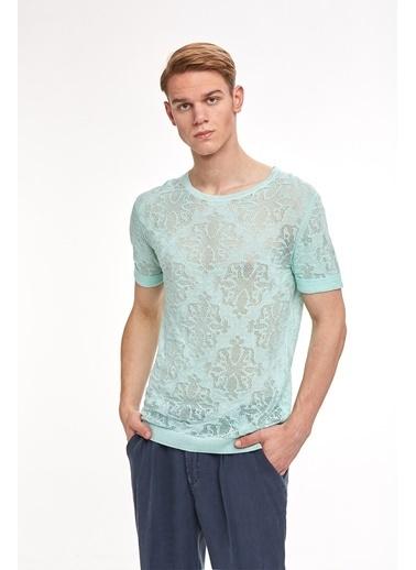 Hemington Desenli Yazlık Keten Triko T-Shirt Yeşil